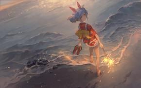 Picture sunset, barefoot, yukata, coast, sideways, geta, Bengal lights, Virtual youtuber, rabbit ears, Virtual YouTuber, Usada …