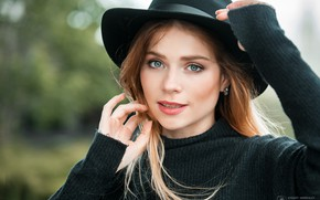 Picture look, close-up, face, pose, background, model, portrait, hat, makeup, hairstyle, beautiful, Anna, redhead, bokeh, jumper, …