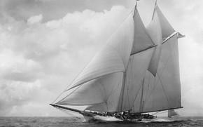 Picture retro, America, schooner, 18th century