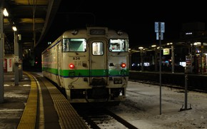 Picture The evening, Night, Japan, Station, Train, Railroad, Stop, The platform