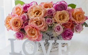 Picture love, flowers, roses, bouquet, colorful, love, pink, pink, flowers, beautiful, romantic, roses