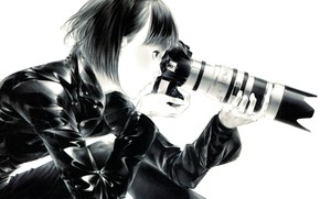 Picture haircut, black and white, hands, the camera, latex, lens, leather jacket, in profile, bangs, by …