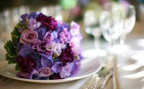 Picture flowers, items, bokeh, serving