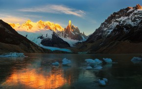 Picture ice, the sky, clouds, mountains, nature, lake, rocks, Argentina