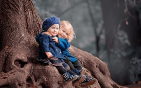Picture nature, children, tree, girls, hugs, sister, baby