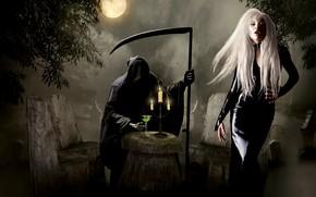 Picture girl, death, glass, photoshop, braid, death scythe, photoart
