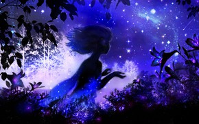 Picture the sky, girl, night, Lily, fantasy, by 00
