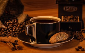 Picture coffee, cookies, mug, drink, coffee beans, saucer, coffee grinder