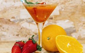 Picture orange, strawberry, juice, cocktail