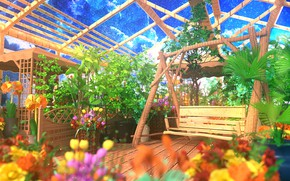 Picture the sky, space, flowers, swing, greenhouse, by K&P