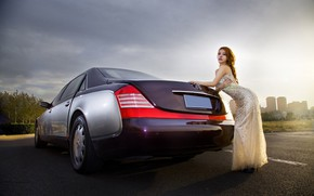 Picture auto, look, Girls, Asian, beautiful girl, posing on the car, Mercedes-maybach