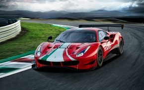 Picture turn, Ferrari, sports car, track, Evo, GT3, 488, Ferrari 488