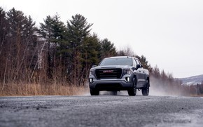 Picture road, wet asphalt, pickup, 2018, GMC, Sierra, Crew Cab, 2019, Elevation