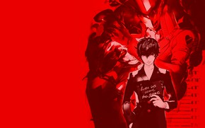 Picture the game, anime, art, guy, red background, person, Person 5