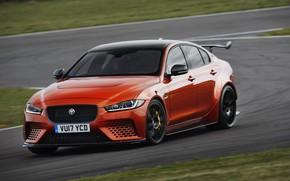 Picture orange, Jaguar, turn, track, 2017, XE SV Project 8