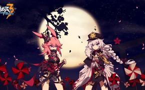 Picture night, the moon, girls, Sakura, Honkai Impact 3rd, Yae Sakura, Kalle Kasl As