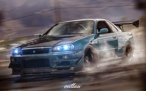 Picture Auto, Machine, Nissan, NFS, Godzilla, Nissan Skylian, Game Art, Outlaw, Payback, Ned Souris, NFS Payback, …