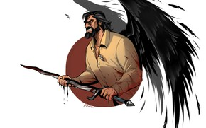 Picture man, angel, sword