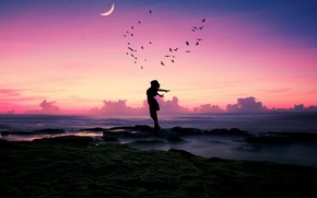 Wallpaper sea, beach, girl, happiness, sunset, birds, pose, stones, mood, the moon, shore, pack, a month, ...