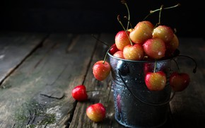 Picture drops, berries, the dark background, Board, bucket, a lot, cherry, bucket