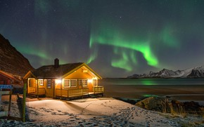 Picture winter, the sky, snow, mountains, night, lights, shore, stars, Northern lights, Norway, lights, Bay, house, …