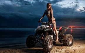 Picture girl, sunset, pose, ATV, Oleg Klimin, Olga Krylova