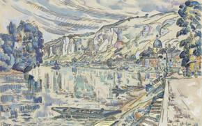 Picture boat, figure, watercolor, 1923, Paul Signac, Les Andelys, Paul Signac