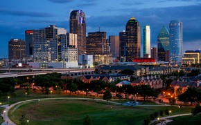 Picture the sky, clouds, trees, lights, building, home, the evening, lights, USA, skyscrapers, Dallas