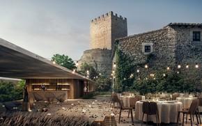 Picture castle, lighting, tables, yard, Castle Peratellada