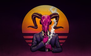 Picture Music, Style, Costume, Background, Horns, Style, Illustration, The devil, Cigarette, Synth, Goat, Retrowave, Synthwave, New …