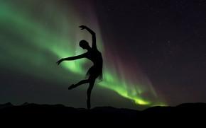 Picture GIRL, The SKY, STARS, SILHOUETTE, LIGHTS, BALLERINA