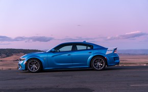 Picture sunset, the evening, Dodge, side view, Charger, Hellcat, SRT, Widebody, 2019, Daytona 50th Anniversary