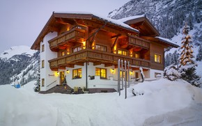 Picture Winter, Mountains, Snow, House, Candle, Garland, Windows, Porch, Tree, Roof, The drain, Lighting, The slopes, …
