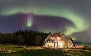 Picture stars, night, Northern lights, night, stars, exterior, northern lights, NORWAY, NORWAY, exterior, дом в Норвегии, …