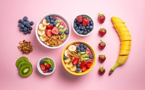 Picture berries, Breakfast, kiwi, blueberries, strawberry, bananas, pink background, a lot, muesli, cuts, bowls, chopped