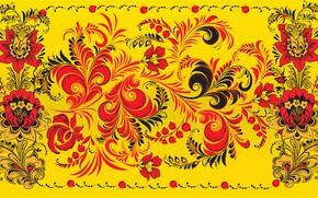 Picture Flowers, Red, Yellow, Style, Background, Painting, Art, Khokhloma, Khokhloma painting, madeinkipish, Ivan Ivanovich, Russian painting