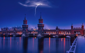Picture the storm, night, bridge, river, lightning, promenade, Germany, Berlin, Berlin, Oberbaum, River Spree, The Upper …