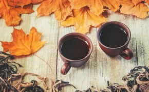 Picture autumn, leaves, plaid, wood, autumn, leaves, coffee cup, a Cup of coffee