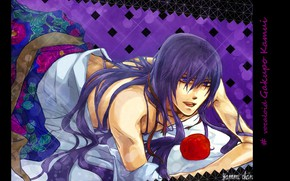 Picture vocaloid, Vocaloid, flirting, purple hair, red Apple, lying on the bed, Kamui Gakupo, Gakupo Kamui