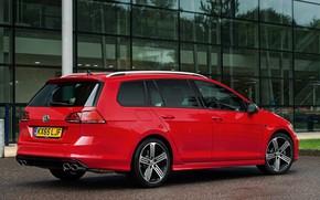 Picture red, Volkswagen, side view, universal, 2015, Golf R Estate