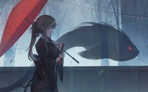 Picture girl, trees, rain, fish, umbrella, the demon, fantasy, horns