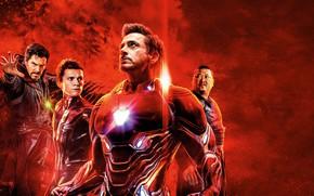 Picture fiction, poster, red background, Iron Man, comic, Benedict Cumberbatch, Benedict Cumberbatch, Robert Downey Jr., MARVEL, …