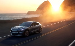Picture road, sea, the sun, rays, sunset, shore, speed, Ford, Ford Mustang, crossover, electric, 2021, Ford …