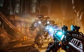 Picture the game, battle, the suit, lava, power, gun, cyborg, warhammer, shooter, Necromunda: Hired Gun