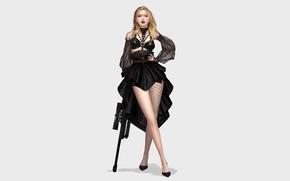 Picture Girl, Minimalism, Blonde, Style, Girl, Background, Weapons, Art, Art, Black, Style, Rifle, Background, Weapon, Minimalism, …