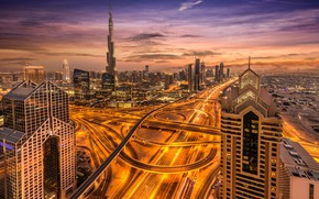 Picture road, the sky, clouds, line, sunset, night, the city, lights, movement, tower, home, skyscrapers, the ...