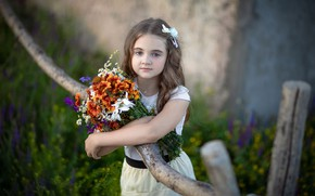 Picture flowers, branches, nature, bouquet, girl, child, curls, Rus, Yuriy Korotun