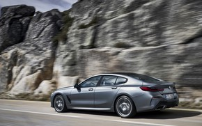 Picture coupe, BMW, Gran Coupe, 8-Series, 2019, the four-door coupe, Eight, on the background of rocks, …