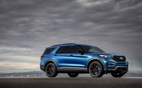 Picture clouds, blue, Machine, drives, Ford Explorer ST