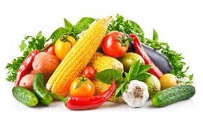 Picture greens, background, corn, pepper, still life, vegetables, tomatoes, garlic, potatoes